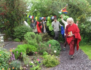 Lama Shenpen celebrating at The Hermitage, a sacred site in North Wales
