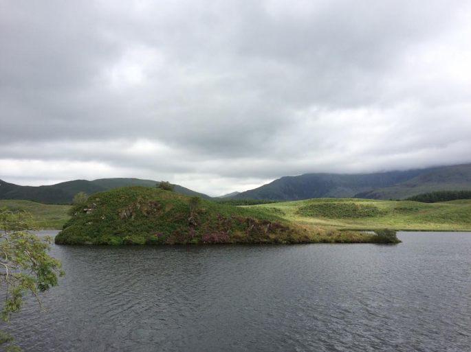 the holy island of Llyn y Dywarchen in Gwynedd, North Wales
